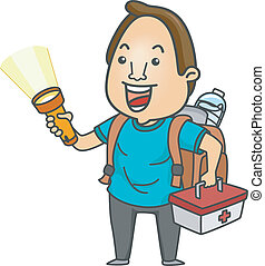 Emergency Ready - Illustration of a Man Holding a...