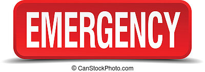 Emergency red 3d square button isolated on white background