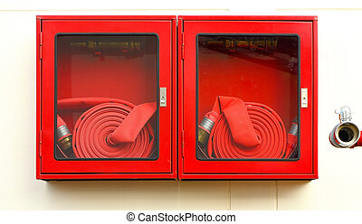 Emergency Red Boxes - Pipe roll for fire emergency in red...