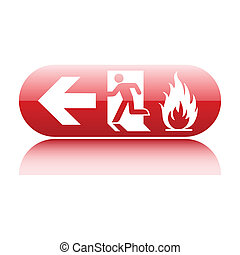 Emergency red fire exit glossy sign on white
