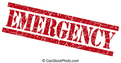 emergency red grungy stamp isolated on white background