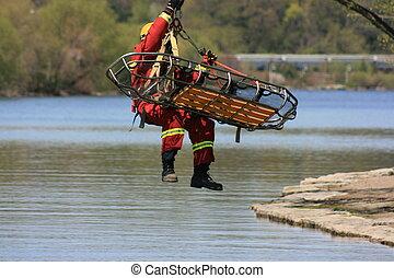 Emergency rescue staged at a puplic exhibition in Hamilton, Ontario, Canada.