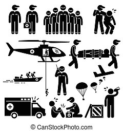 A set of human pictogram representing emergency rescue team and paramedic saving life of injured victims with helicopter, boat, and ambulance. They are also dropping food supply from air with aeroplane. They provide medical attention as well.