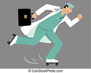 Emergency response medicine - Doctor on roller skates...