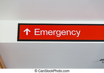 Emergency Room Sign with Arrow and Red