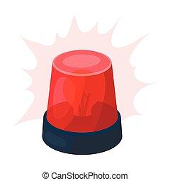 Emergency rotating beacon light icon in cartoon style...