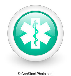 emergency round glossy web icon on white background