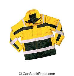 Emergency safety jacket isolated on white