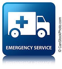 Emergency service blue square button