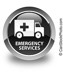 Emergency services glossy black round button