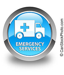 Emergency services glossy cyan blue round button