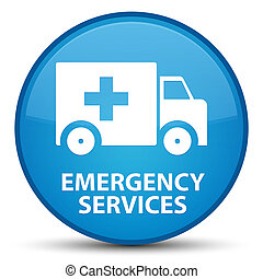 Emergency services special cyan blue round button