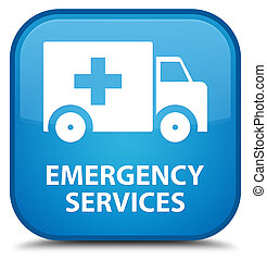 Emergency services special cyan blue square button