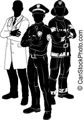 Emergency rescue services team silhouettes of a policeman or police officer, a fireman or fire-fighter and a doctor