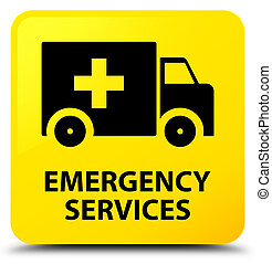 Emergency services isolated on yellow square button abstract illustration