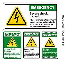 Emergency Severe shock hazard sign on white background