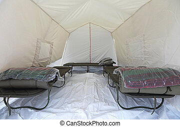 Emergency Shelter - Tent Shelter With Temporary Beds Ready...