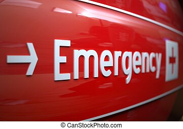 EMERGENCY SIGN AT A HOSPITAL. - Short focus on an emergency ...