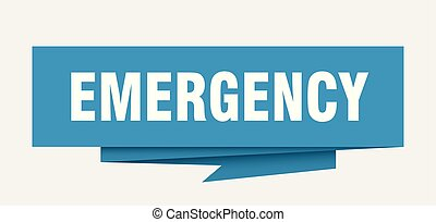 emergency sign. emergency paper origami speech bubble....