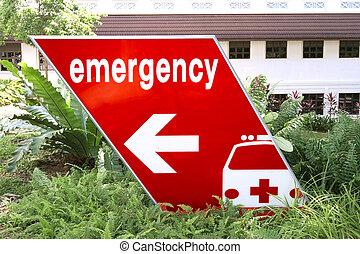 emergency sign directing traffic