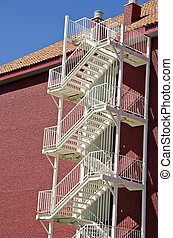 Emergency stairs by the wall