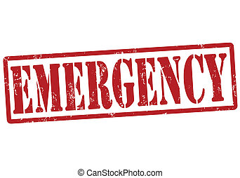 Emergency grunge rubber stamp on white, vector illustration
