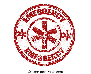 Emergency stamp - Red office rubber stamp with the emergency...