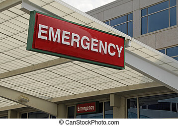Emergency Sign over a Hospital Emergency Room Entrance