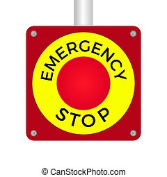 Emergency Stop Push Button Vector Illustration