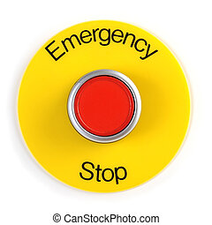 Emergency Stop Switch - Extreme close-up image of a...
