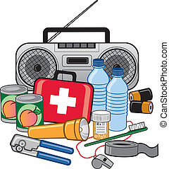 Vector Illustration of items to have on hand in case of an emergency (all items are grouped individually).