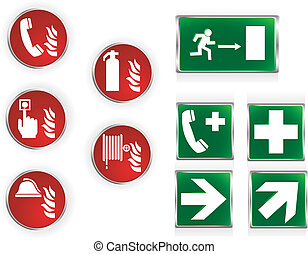 Emergency symbols - Set of ten commonly used emergency...