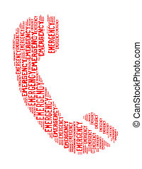 emergency text collage Composed in the shape of telephone an...