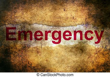 Emergency text on grunge background