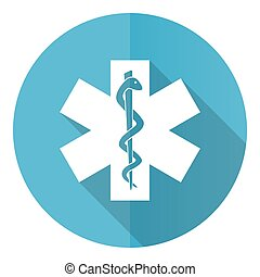 Emergency vector icon, flat design blue round web button isolated on white background