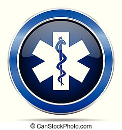 Emergency vector icon. Modern design blue silver metallic glossy web and mobile applications button in eps 10