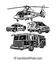 Emergency Vehicles Collection In Black And White
