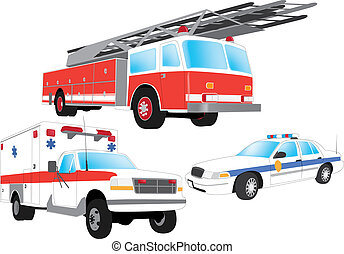 Emergency vehicles - firefighter, ambulance and police car