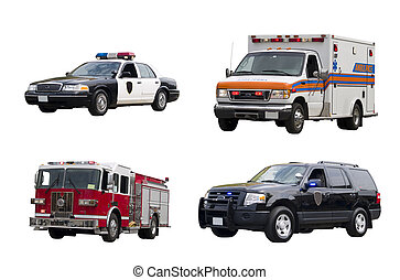 A set of emergency vehicles isolated on a white background.