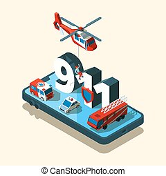 Emergency vehicles isometric. Safety urban transport 911 care call ambulance police vector car set