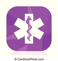 Emergency violet square vector web icon. Internet design and webdesign button in eps 10. Mobile application sign on white background.
