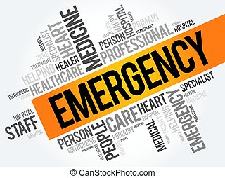 Emergency word cloud collage