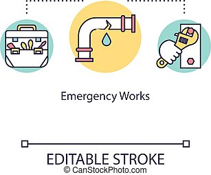 Emergency work concept icon. Fixing boat pipe. Equipment for maintenance work. Repairing ship pipeline idea thin line illustration. Vector isolated outline RGB color drawing. Editable stroke