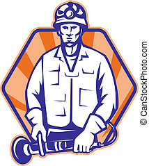 Emergency Worker With Angle Grinder Tool Retro -...