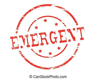 Emergent - Rubber stamp with word emergent inside, vector...