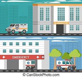 emergenza, dipartimenti, veicoli, appartamento, bandiere, set