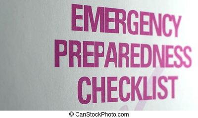 emergenza, preparazione, lista