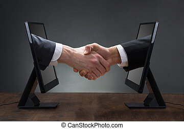 emergere, monitor, esecutivo, mano, computer, tirare, cravatta