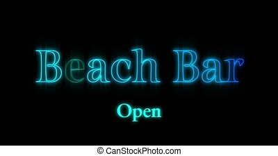 Animation of blue emerging Beach Bar neon billboard against black background 4k