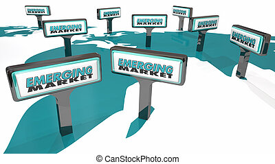 Emerging Markets International Growth Signs 3d Illustration